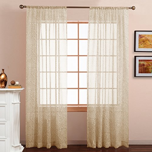 Sheer Curtain Panels Voile Draperies - Paisley Pattern Faux Linen Sheer Voile Curtain Panels for Sliding Glass Door by NICETOWN (Gilded Beige, Set of 2 Panels, W50 x - Pattern Glass Panel