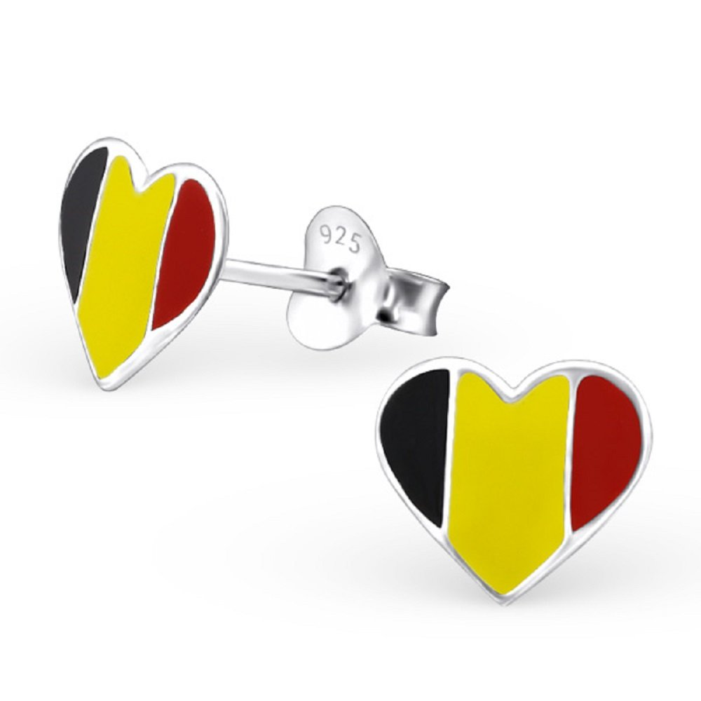925 Sterling Silver Belgium Heart Stud Earrings 23050