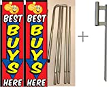 Best Buys Here Giant Boomer Rectangle Flag ''3 ft x 12 ft'' Kit With Pole and Ground Spike - Pack of 2