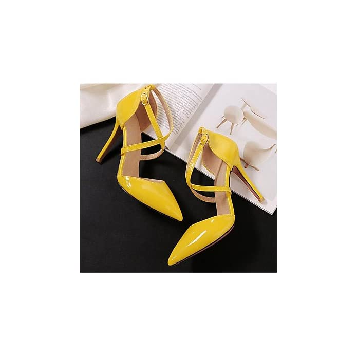 Lvyuan-ggx Da Donna Tacchi Comoda Pu poliuretano Estate Casual Bianco Nero Giallo 5-7 Cm Yellow Us1 5 Eu31 Uk0 5 Cn30
