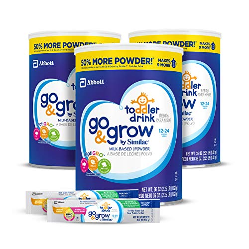 Go & Grow by Similac Milk Based Toddler Drink, (Pack Of 3) 36oz cans + 2 On-The-Go Stickpacks (Difference Between Similac Advance And Go And Grow)