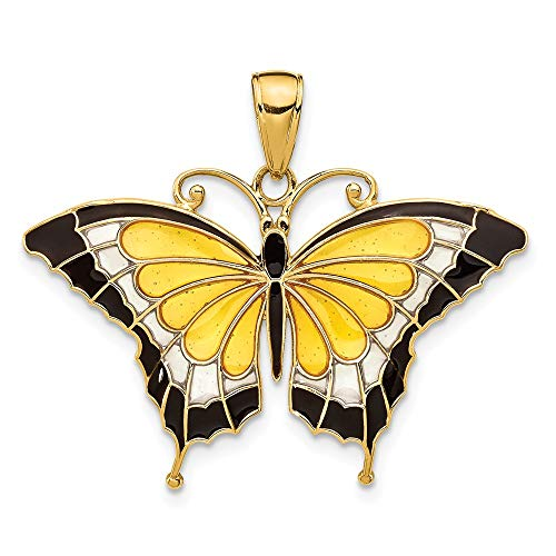 (14k Yellow Gold Enameled Butterfly Pendant Charm Necklace Animal Fine Jewelry Gifts For Women For Her)