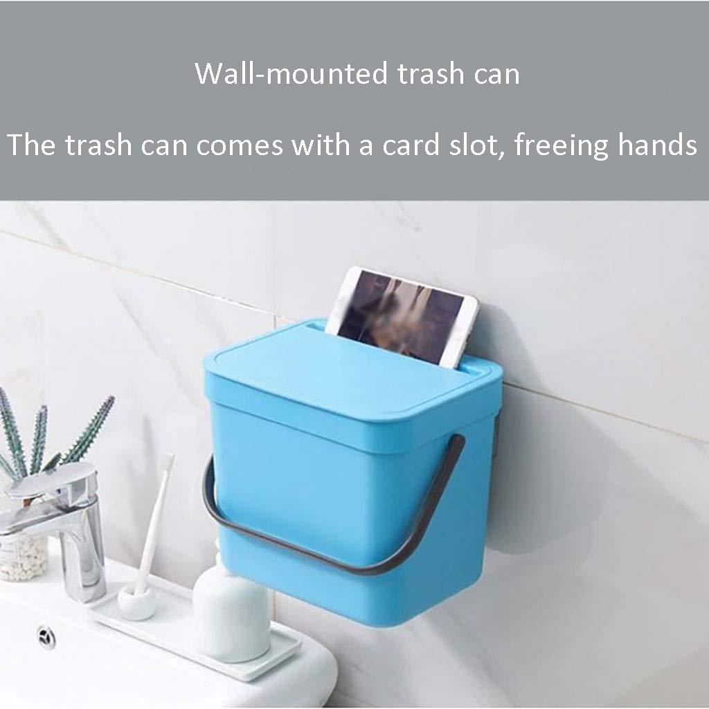 Color : Negro Caja de Almacenamiento de Pared con Tapa y contenedor de Basura con asa Mini Cubo de Basura de pl/ástico Trash can Bote De Basura