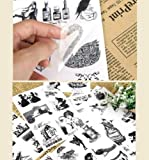 ONOR-Tech 15 Sheets Vintage DIY Decorative Adhesive Sticker Tape / Kids Craft Scrapbooking Sticker Set for Diary, Album, Iphone