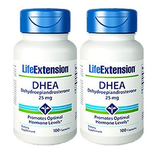 Life Extension DHEA (déhydroépiandrostérone) 100 Capsules de 25mg - Twinpak