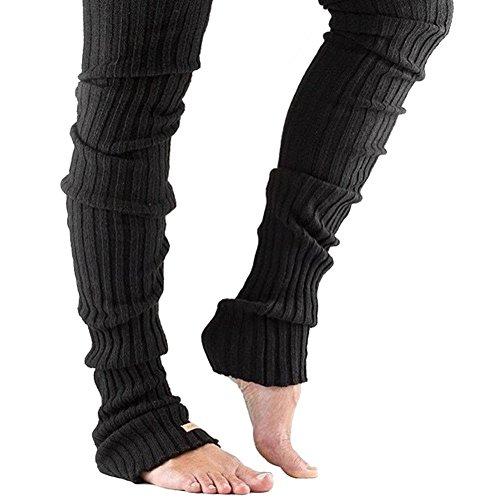 Bettli Leg Warmer, Women Thigh High Tie Cable Knit Crochet Long Boot Socks (L, Black)
