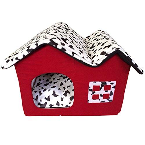 LvRao Haustier Haus Hund Katze Bett Höhlenbett Faltbar abnehmbar Klein Hundehaus Hundehöhle Kuschelhöhle