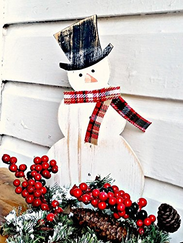 Double Mantel - Wooden Snowman Mantel Decor with Plaid Scarf and Hat