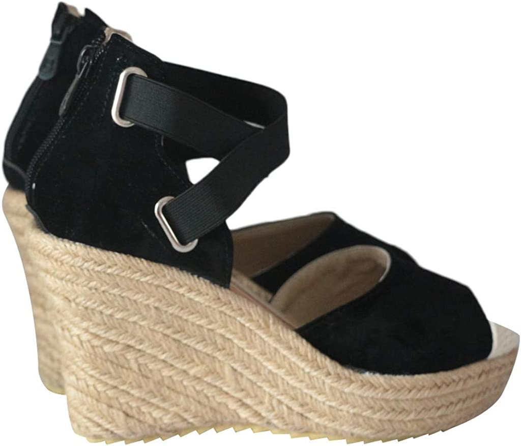 Sandalias de Mujer Plataforma,JiaMeng Moda Polaco Dull Costura Peep Toe Cu/ñas Hasp Sandalias Zapatos Flatform Sandalias Mujer Cu/ña Alpargatas Plataforma