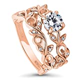 BERRICLE Rose Gold Plated Sterling Silver Cubic Zirconia CZ Filigree Leaf Solitaire Ring Set Size 8