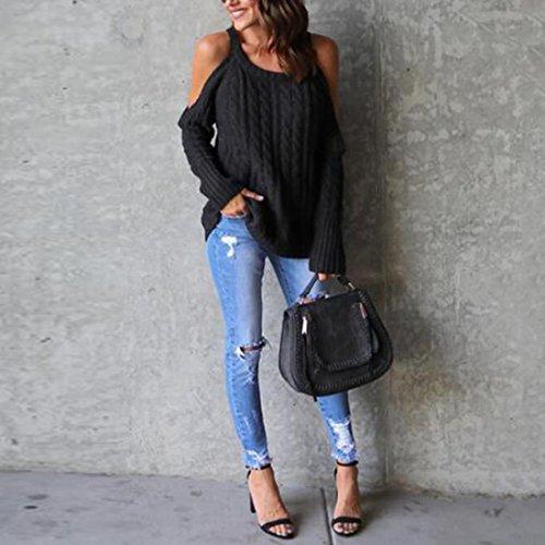 Longueues moichien Manches Ai Froide Pull Mode Noir Knit Femmes Pullover À Halter Épaule Nervures 81qd01
