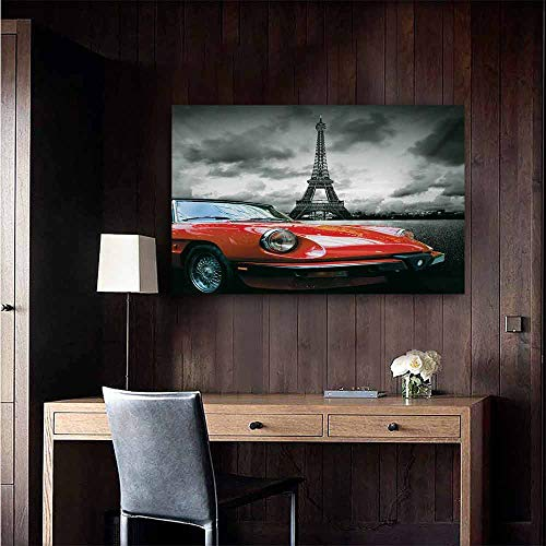 duommhome Red and Black Art Oil Paintings European Honeymoon Romantic City Paris Eiffel Tower Italian Car Canvas Prints for Home Decorations 20