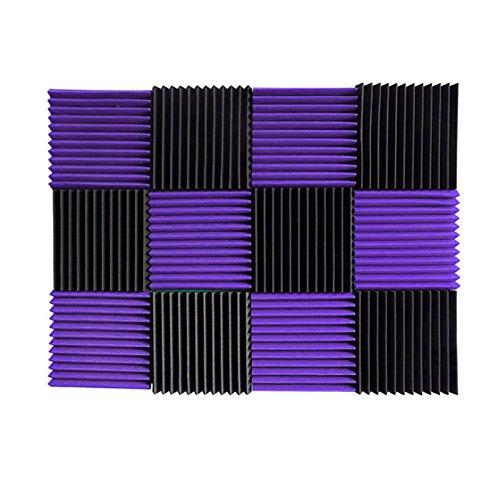 (12 Pk) 1'x12'x12' PURPLE / CHARCOAL Acoustic Panels Soundproofing Foam Acoustic Tiles Studio Foam Sound Wedges (12T)