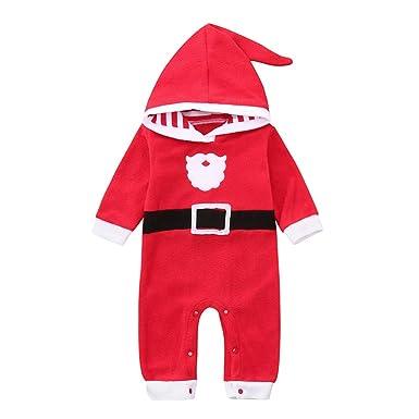 ff7d4b50a4e Amazon.com  Infant Baby Girls Boys 2018 Christmas Hooded Jumpsuit Romper  Cuekondy Cute Cartoon Santa Xmas Deer Long Sleeve Playsuit  Clothing