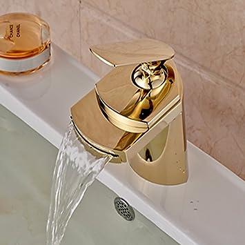 Accesorios de baño Retro Deluxe y minoristas FaucetingWholesale Envío Gratuito acabado dorado cascada grifo del baño grande disipador de tobera grifo mezclador mezclador de caliente y frío,con placa de cubierta