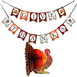 FRIDAY NIGHT Thanksgiving Day Colorful Turkey and Banner kit for Party Supplies Decorations