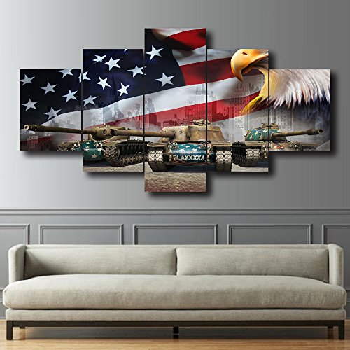 USA Flag Canvas Print Wall Pictures for Living Room American Eagle Tanks Independence Day Painting 5 PCS Framed Posters and Prints Giclee Print Gallery Wrap Artwork Home Decoration(60''W x 32''H)