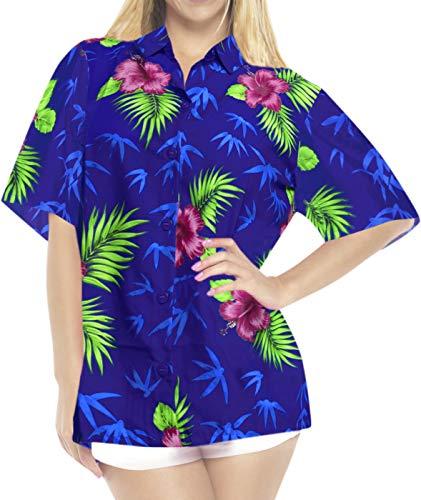 LA LEELA Likre Luau Party Blouses Collar Shirt Royal Blue 396 M - US 36 - 38D