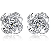 Joyfulshine Women Earrings Studs 925 Sterling Silver Cubic Zirconia Eternal Love Earrings