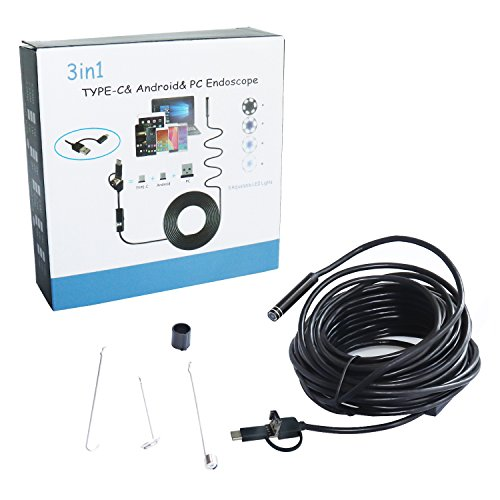 USB Endoscope, PEYOU 8MM Type-C / USB C [3 in 1] Borescope 2 Megapixel CMOS HD Snake Waterproof Inspection Camera Endoscope with 6 Adjustable LEDs and USB Adapter for Android, Windows, OS System by Peyou (Image #6)