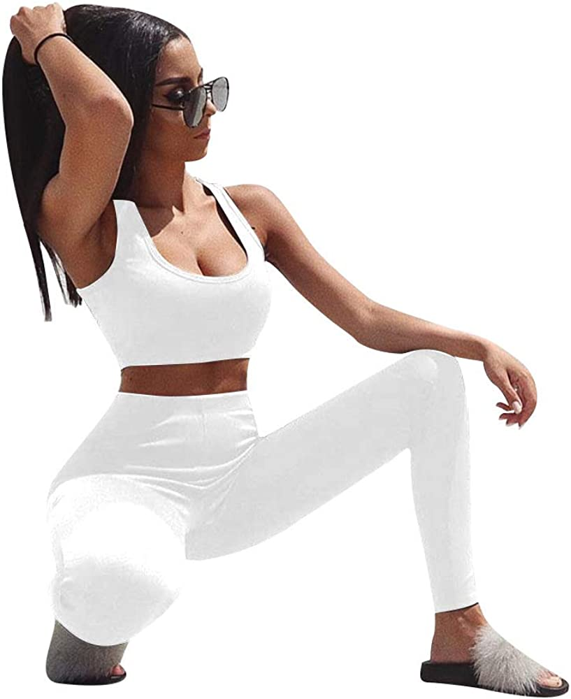 GOBLES Womens 2 Piece Outfits Tank Crop Top Skinny Long Pants Sets Tracksuits