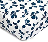 Lewis Organic Cotton Fitted Crib Sheet Radish Print 100% Organic Cotton Percale, Denim