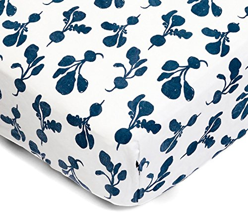 Lewis Organic Cotton Fitted Crib Sheet Radish Print 100% Organic Cotton Percale, Denim by Lewis LLC