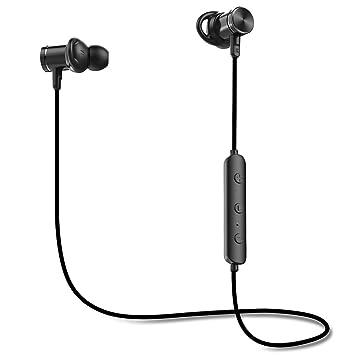 Auriculares Bluetooth, mindkoo IPX5 impermeable auriculares in-ear inalámbrico con conexión magnética, micrófono