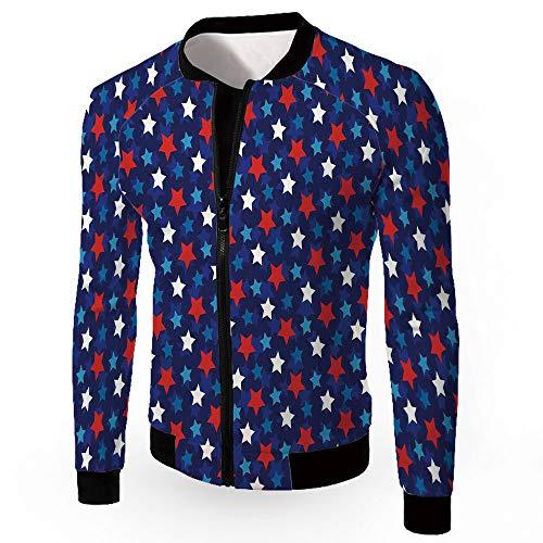 Fashion Jackets,Navy Blue Decor,Zipper Sportswear Patchwork Long Sleeve Coat,AME