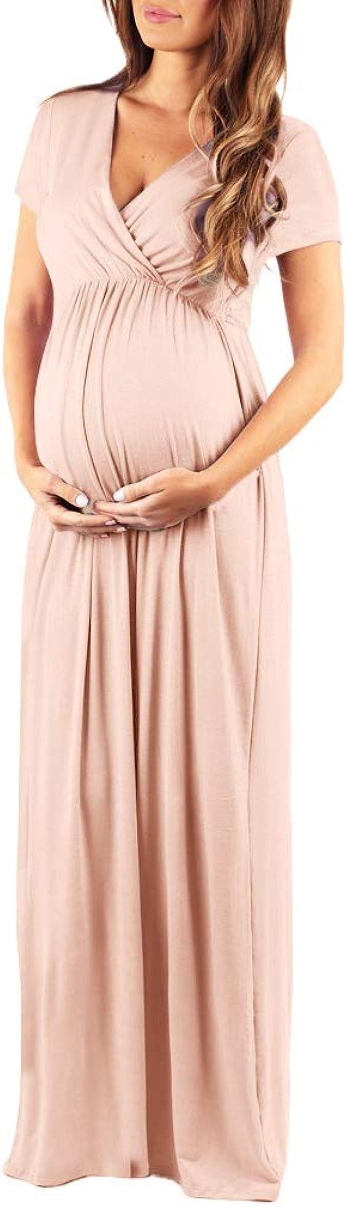 Lenfesh Umstandskleid Damen, Mutterschaft Lang Umstandsmode Sommerkleid  Fotoshooting Schwangerschaft Stillkleider Maxikleid Abendkleider Damen