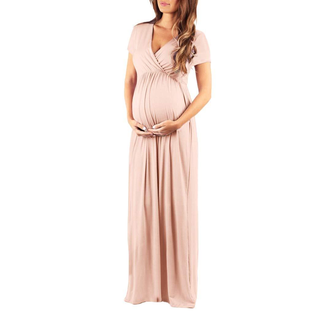 de Maternit/é Ete 2019 Robe Allaitement Grossesse Robe de Soir/ée Maxi Robe Manches Courtes Chemise de Nuit Manadlian Robe Robe Longue Femme Soiree