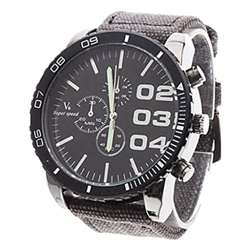 Soleasy New Mens Big Round Dial Fabric Band Analog Quartz Wrist Watch Wth1002