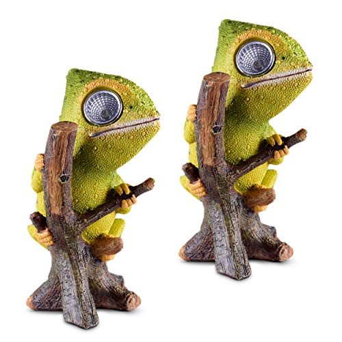Chameleon Solar Garden Decorations Figurine | Outdoor LED Decor Figure | Light Up Decorative Statue Accents for Yard, Patio, Lawn, Balcony, or Deck | Great Housewarming Gift Idea (Green, 2 Pack)