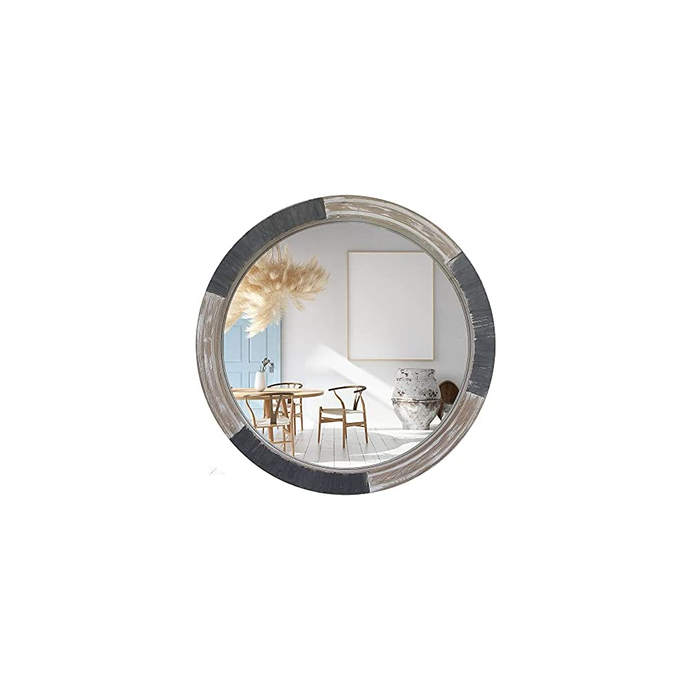 BRIGHTONLIVING Rustic Wooden Frame Vintage Farmhouse Chic Decorative Accent Wall Hanging Mirror (Round-31 Inch)