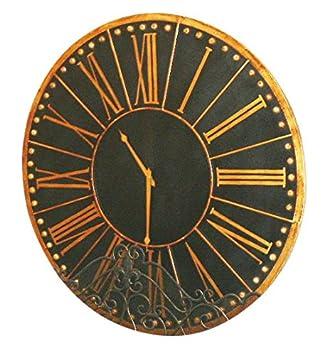 Antik Schwarz Gold Wanduhr 114.30 Cm, Traditionell, Rund, Übergröße