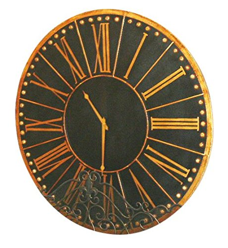 Antique Black Gold Wall Clock | 45'' Traditional Round Oversize
