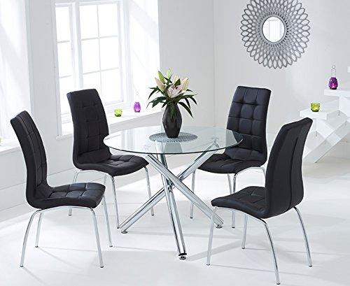 Athen 100 Cm Glas Esstisch Und Stühle Schwarz Günstig Online Kaufen