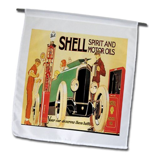 Vintage Ad Car (3dRose fl_163759_1 Image of Shell Oil for Cars Vintage Ad Garden Flag, 12 by 18-Inch)