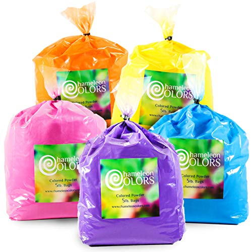 Holi Powder by Chameleon Colors – 5 lb of 5 Colors (25 lbs). Pure, Authentic Fun – Color Races, 5k, Festival. Blue, Pink, Orange, Yellow, Purple. ()