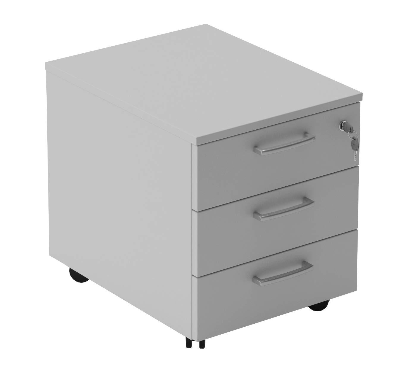 Cassettiera da ufficio con Rotelle, Montaggio Facile, L 42 x P 56 x H 51 cm Colore Bianco o Grigio (Grigio) Seipo