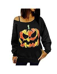 Women Off Shoulder Blouse Tops Halloween Pumpkin Winter Sweatshirt