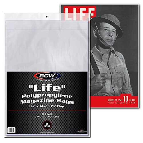 LIFE'' Magazine Bags 100 bags  11-1/8'' x 14-1/4'' + 1-1/4 by BCW