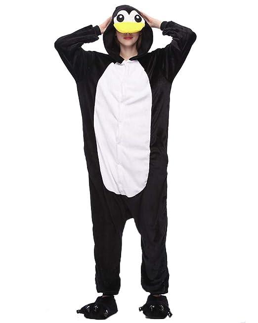 Kigurumi Pijamas Unisexo Disfraz Animales Ropa de Noche Black Penguins S