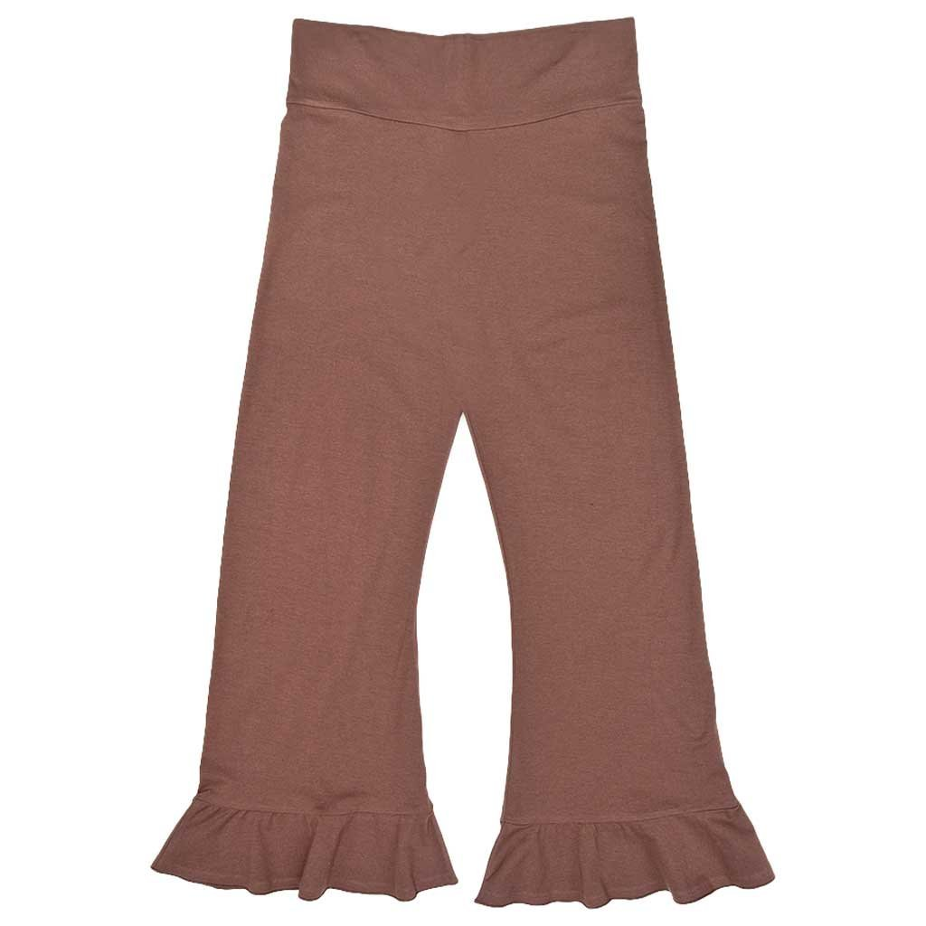 Women's Organic Cotton Full-Length Ruffle Hem Brown Topanga Pirate Festival Pants - DeluxeAdultCostumes.com