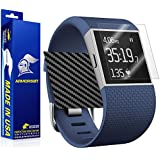 ArmorSuit MilitaryShield - Fitbit Surge Fitness Superwatch Screen Protector (Full Screen Coverage) + Black Carbon Fiber Full Body Skin Protector / Front Anti-Bubble and Extream Clarity HD Shield with Lifetime Replacements