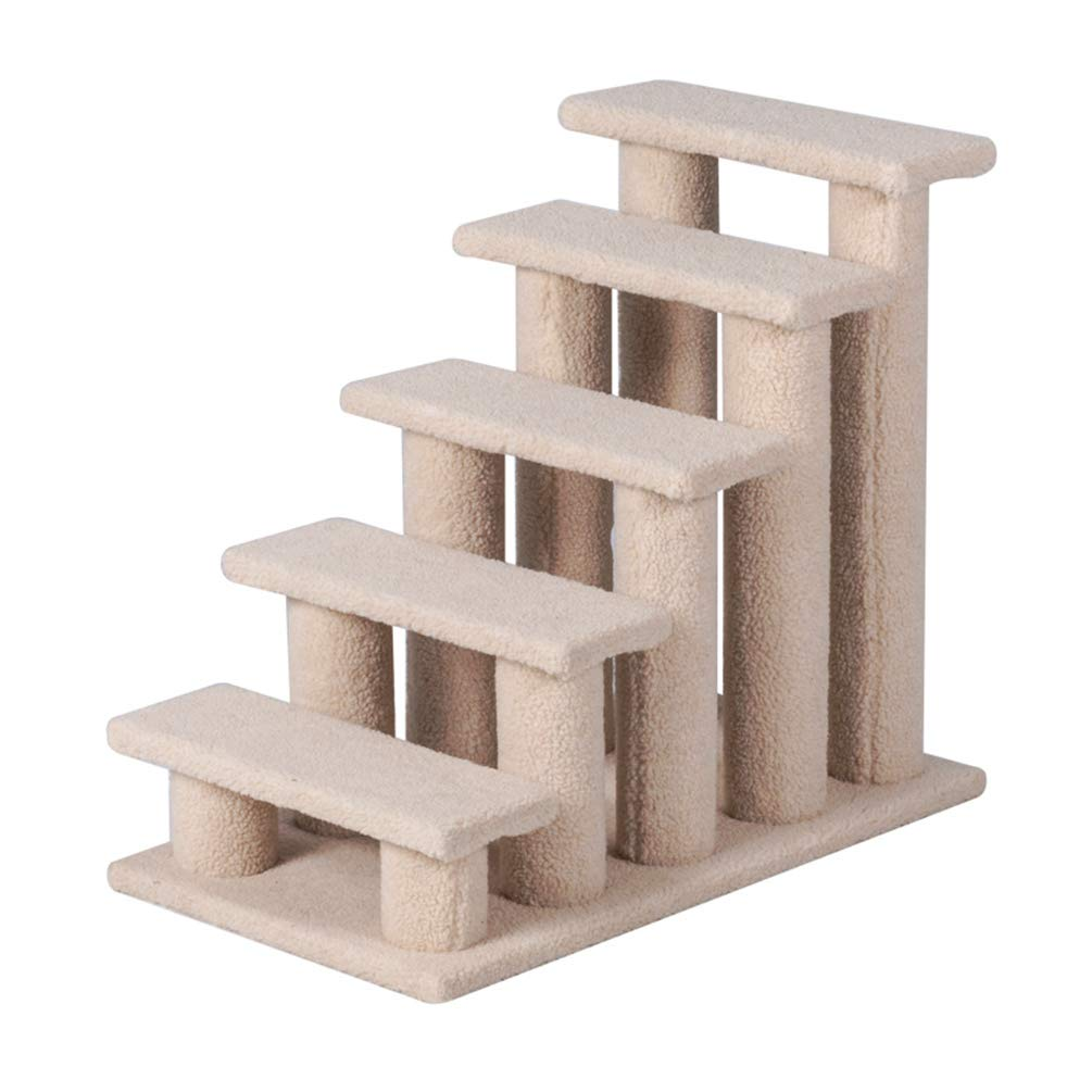 Good Life 25'' 5 Steps Pet Stairs Carpeted Ladder Ramp Cats Scratching Post Cat Tree Climber for Cat Small Dogs Rabbit Beige by Good Life USA