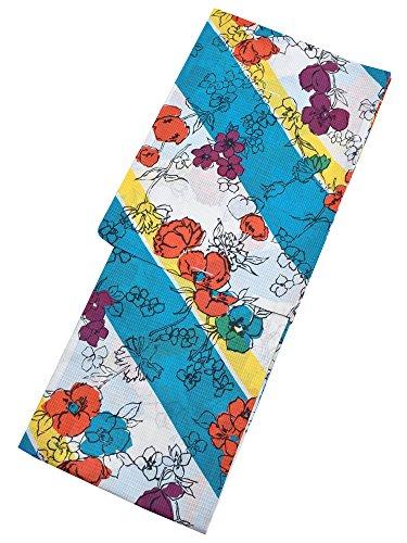 人質素子反毒[ 京都きもの町 ] 女性 浴衣 ブルー×イエロー フルール モダンアンテナ 綿紅梅 綿 フリー 花柄