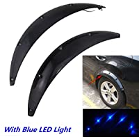 FMtoppeak 4 Pcs Car Fender Flares Arch Wheel Eyebrow Protector Sticker with Blue LED Light