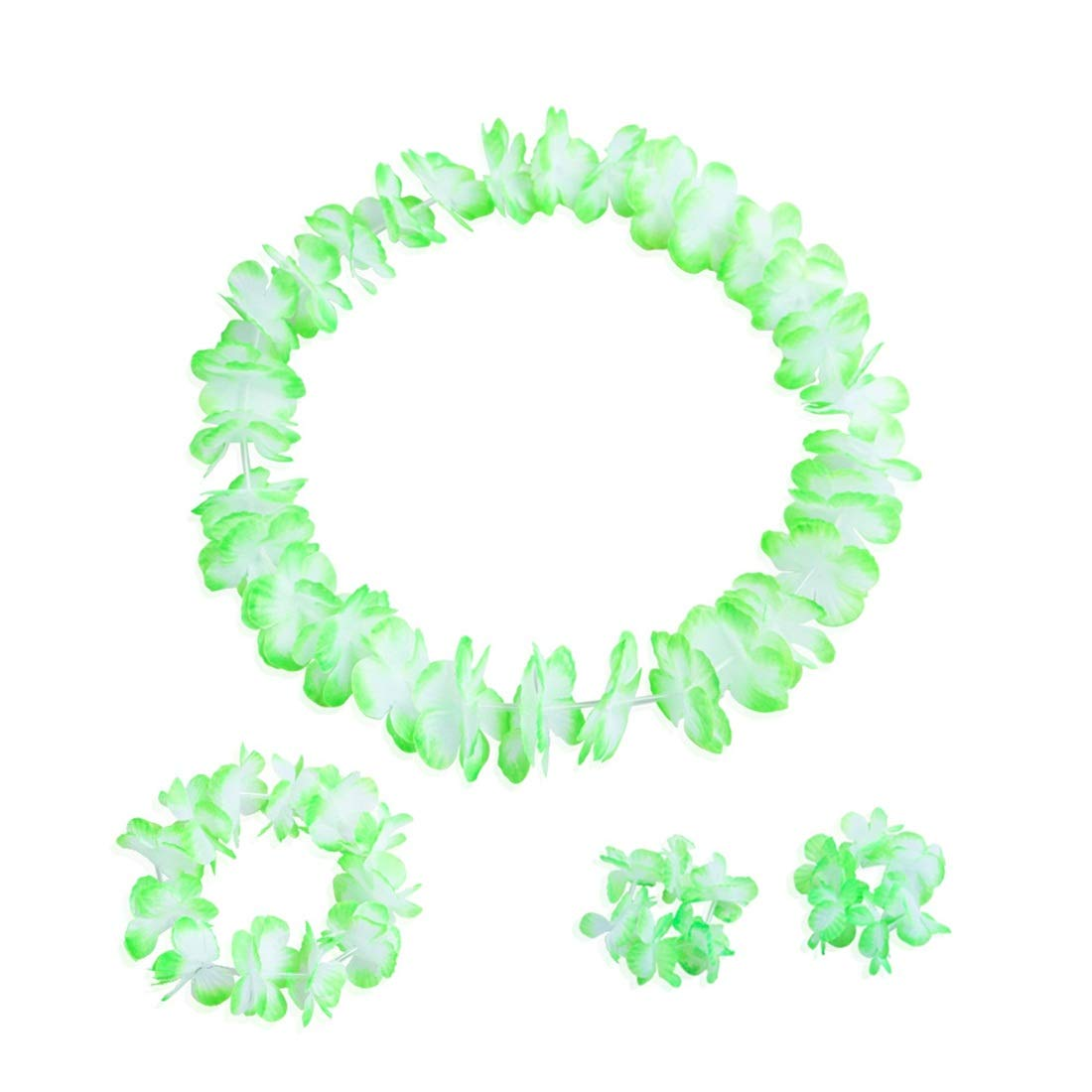 MATCHANT 12 Piece Tropical Hawaiian Ruffled Flower Necklace for Beach Birthday Party Decorations (Color : Green, Size : 12pcs)