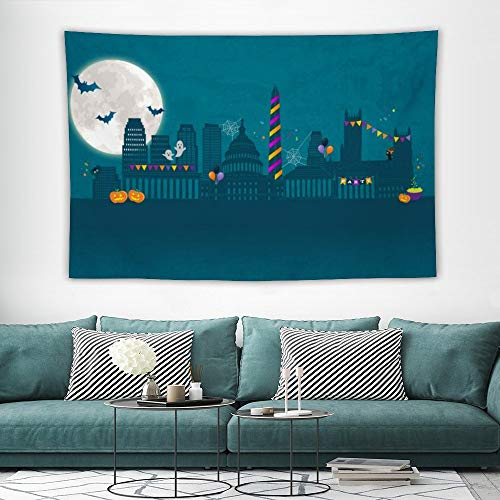 Best Halloween Party Washington Dc (Hatmore Indian Tapestry Hippie Grey Mandala Flower Tapestry Wall Hanging Bedding Tapestry,Scary Halloween Night Moon Bats Halloween Party Washington DC)